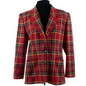 Vintage Gap Wool Blend Red Plaid Blazer
